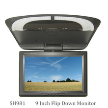 9 inch bus/car/taxi TFT LCD roof Mounting AV Monitor for DC 36V dual video input SH981 Black