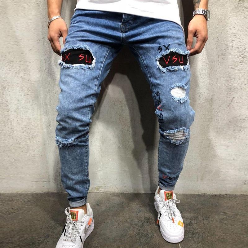 S-3XL Stylish modis   jean   homme Ripped   Jeans   Biker Slim Straight Frayed Denim Embroidery Skinny   Jeans   Men Pant
