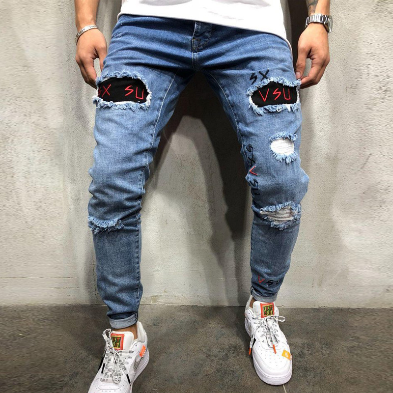 S-3XL Stylish Modis Jean Homme Ripped Jeans Biker Slim Straight Frayed Denim Embroidery Skinny Jeans Men Pant