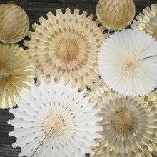 """10 шт. 4,""""(12 см) снежинка бумажный веер Pinwheels папиросная бумага веер Висячие свадебные бумажные цветы вечерние торт космический Декор"""