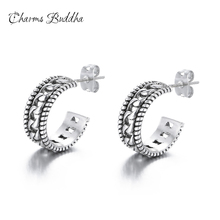 hot deal buy tire lines design authentic 925 sterling silver buddha earrings exquisite stud earrings for women fine jewelry gifts