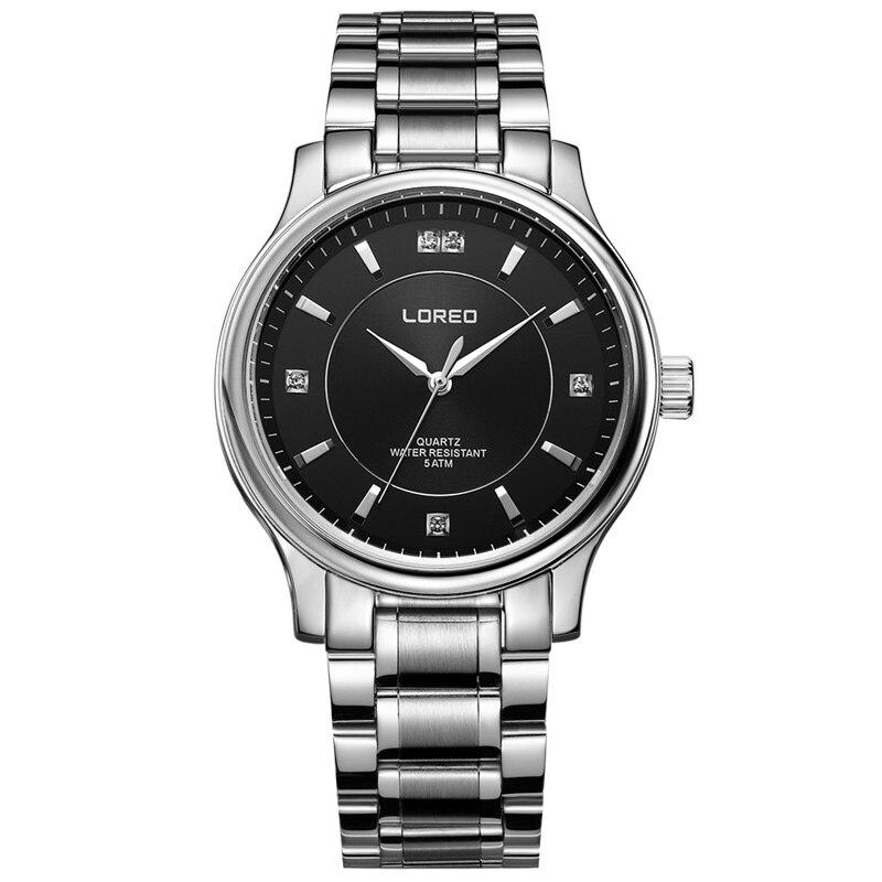 LOREO 6001 Germany watches men luxury brand quartz water resistant 5ATM stainless steel business Diamonds relogio masculino цена