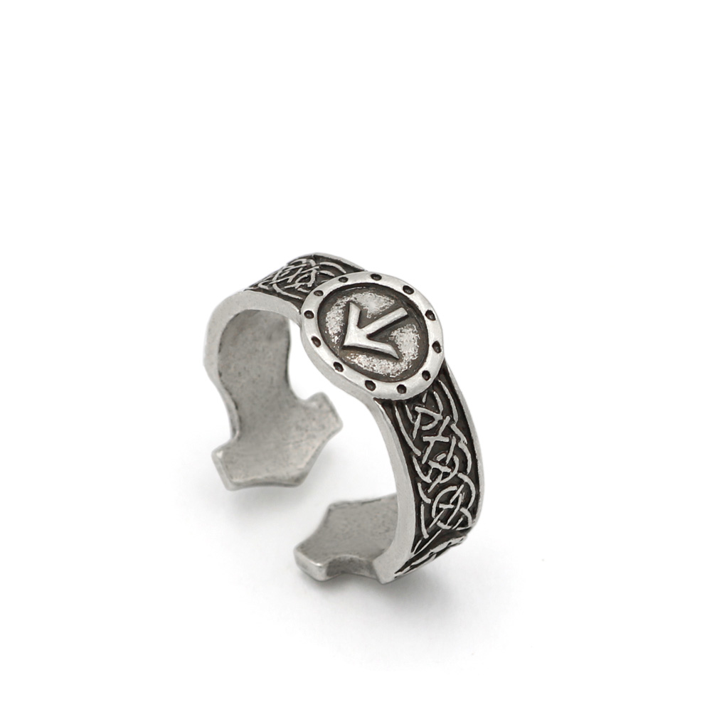 Men Norse Viking Celtic Rune Rings Adjustable Rings Amulet Runic Nordic  Celtic Ring Gothic Jewelry
