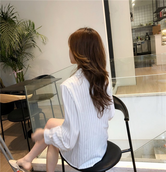 Shirts Women Simple Retro Striped All-match Double-breasted Korean Style Students Notched Womens Elegant Blouses Loose Chic 2019 32