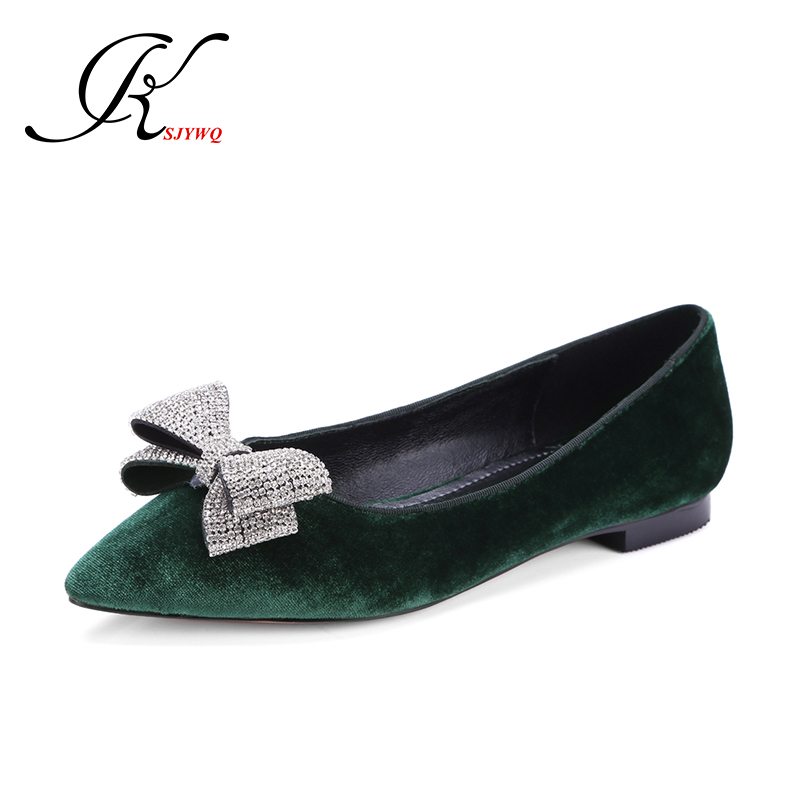 ФОТО KSJYWQ Green color Women's flats Genuine leather Sexy Pointed-toe Shoes Size 34-39 Women ballet shoe Woman Box Packing SG-a610-1