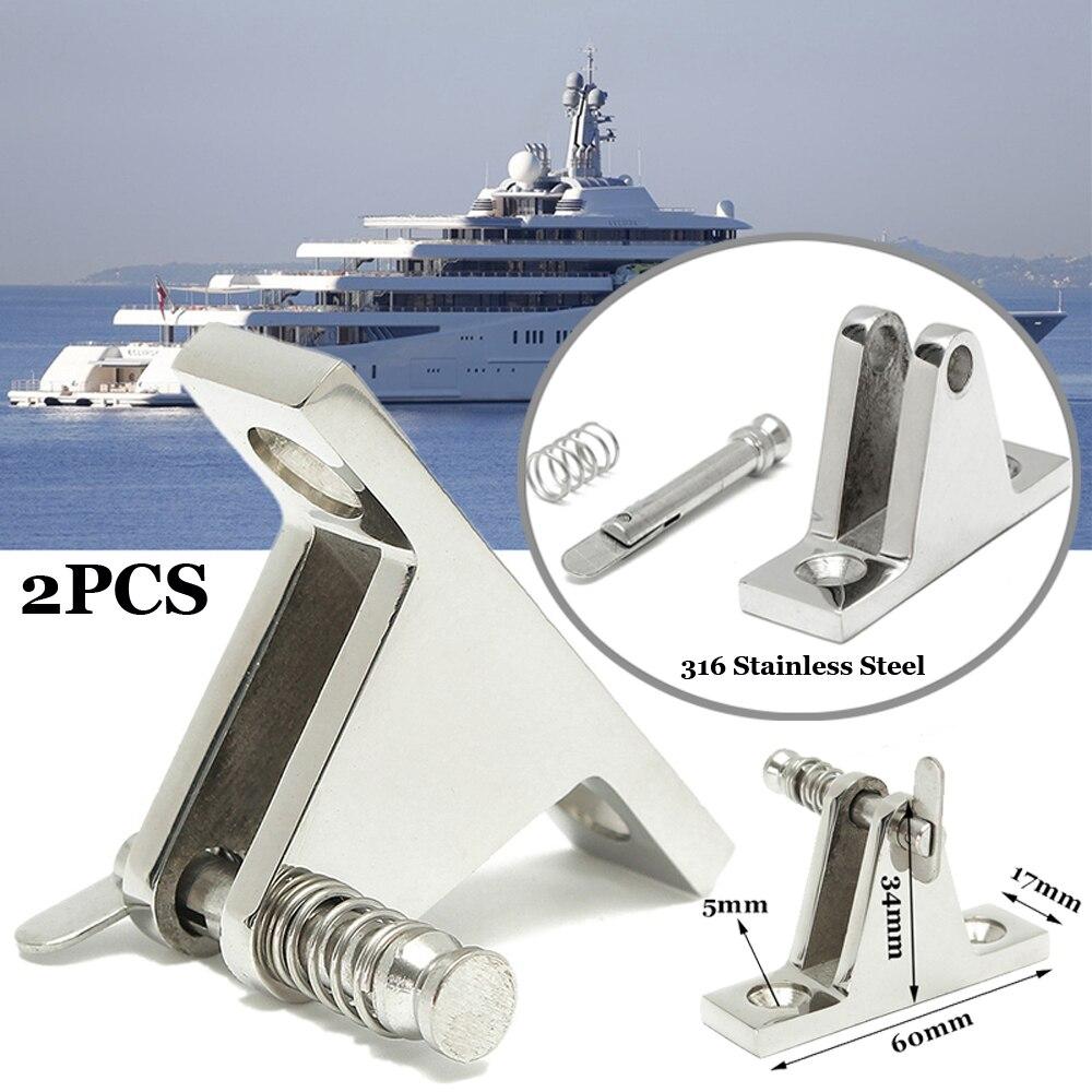 2PCS/SET Deck Hinge Boat Bimini Top Fitting 90° Pin Stainless Steel Boat Parts