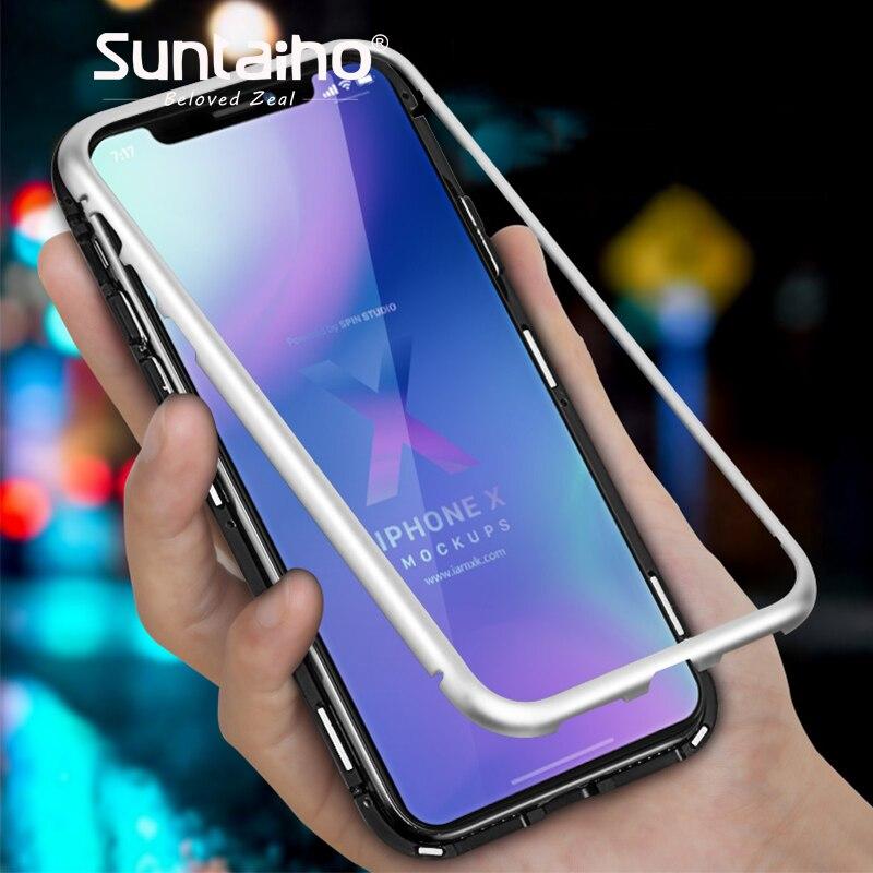 Adsorción magnética para iPhone XR 7 XS MAX marco metálico casos del imán Suntaiho para iPhone X 7 8 más cubierta de vidrio templado