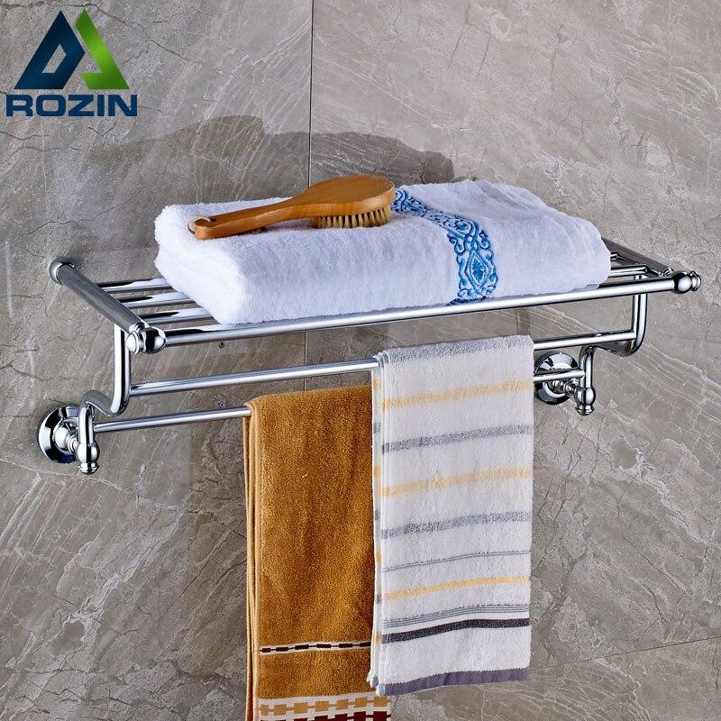 Polished Chrome in wall Bath Towel Holder Bathroom Bath Towel Shelf Towel Bar Storage Holder