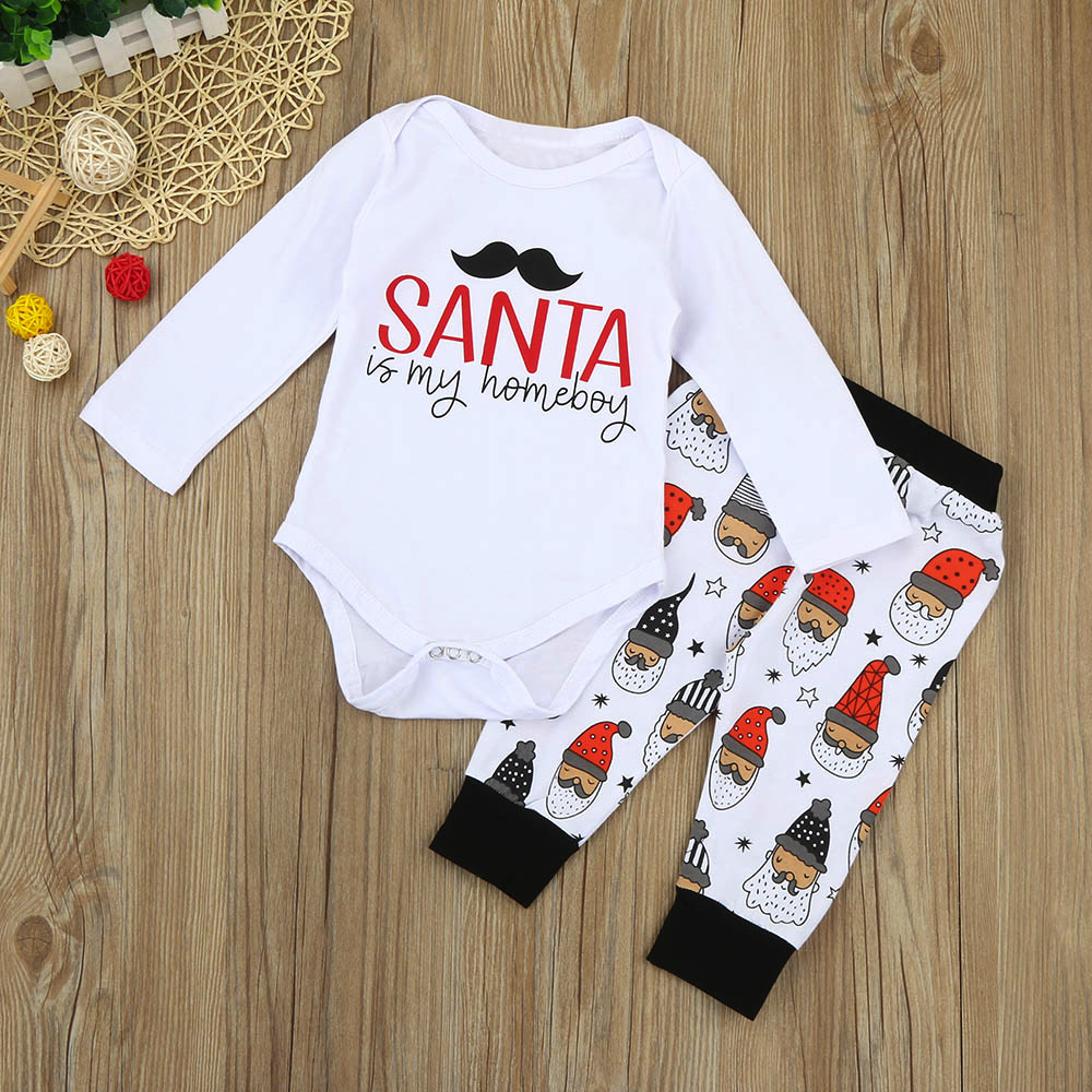 COMFY KIDS Clothes Hot Selling Children Clothing Newborn Infant Baby Girl Boy Letter Romper Tops+Pants Christmas Outfits Set
