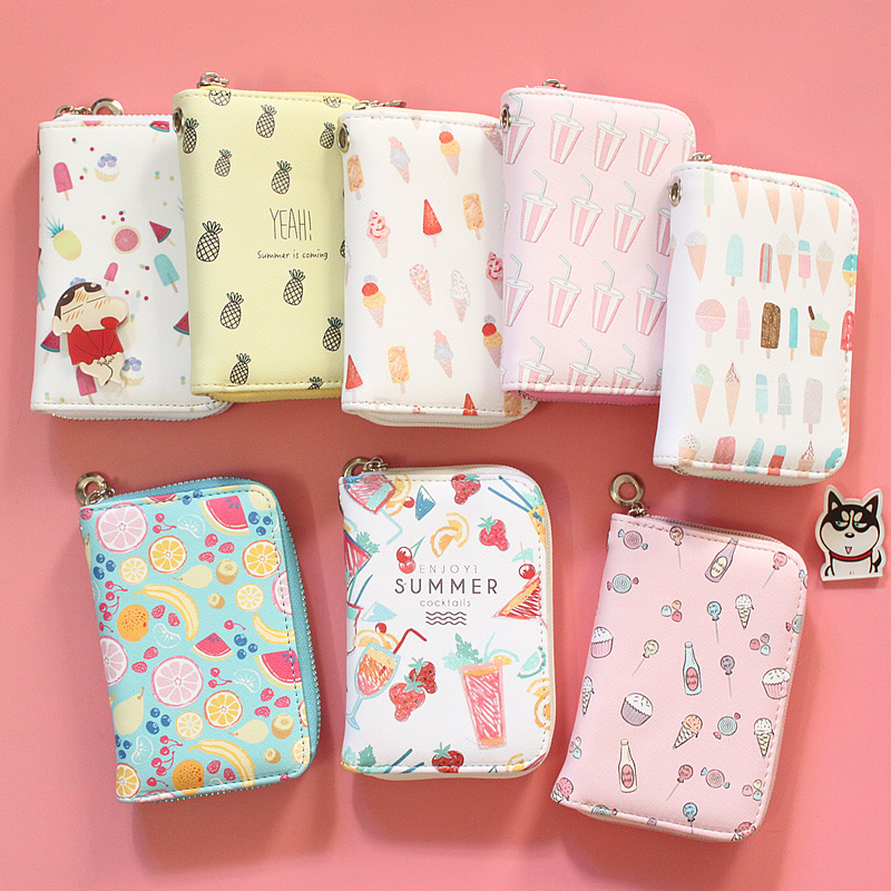 Korean Version Of Wallets Female Medium And Long Zipper Printing Korean Students' Fruit Wallets Zero Wallets