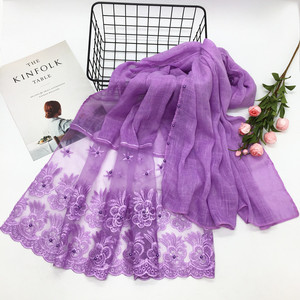 Image 2 - New 2018 winter Muslim hijab luxury embroidery lace floral scarf lady cotton scarf brand head scarf Arab female Stoles Bandana