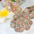 Colorful opal crystal abalorios flower keychain/korean jewelry bag charm accessories/chaveiro/llaveros/porte clef/trinket  car