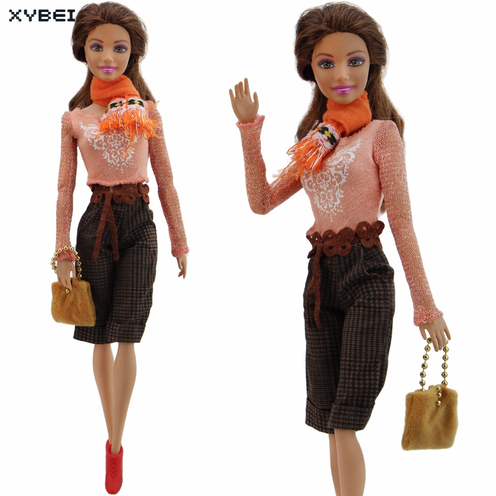 Handmade Orange Outfit Daily Casual Wear Scarf Belt Blouse Trousers Handbag Shoes Clothes For Barbie Doll Accessories Gifts Toys pink wool coat doll clothes with belt for 18 american girl doll