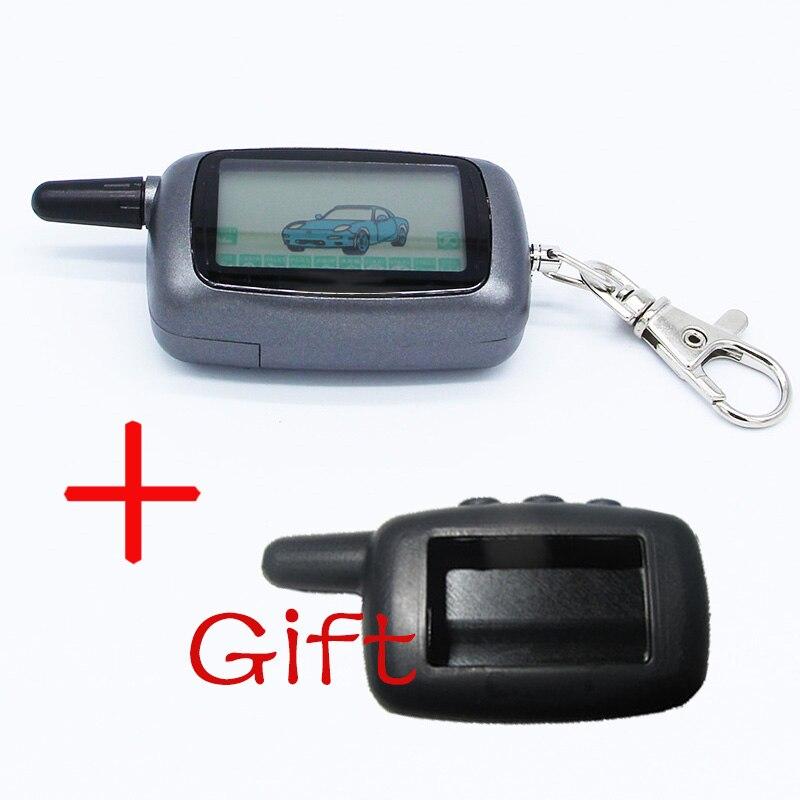 Starline A9 2-weg LCD Fernbedienung Schlüssel Fob Kette Keychain + Silikon Schlüssel Fall Für Zwei Weg Auto alarm System Twage Starline A9