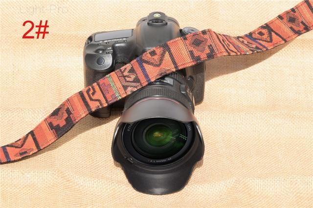 TS-MU Rétro Style Double Coton Cour Coloré Motif Épaule Caméra Cou Sling Dragonne Ceinture