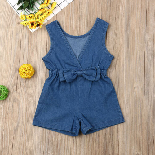 US Toddler Kids Baby Girl Denim Romper Shorts Jumpsuits Playsuit Outfits Clothes