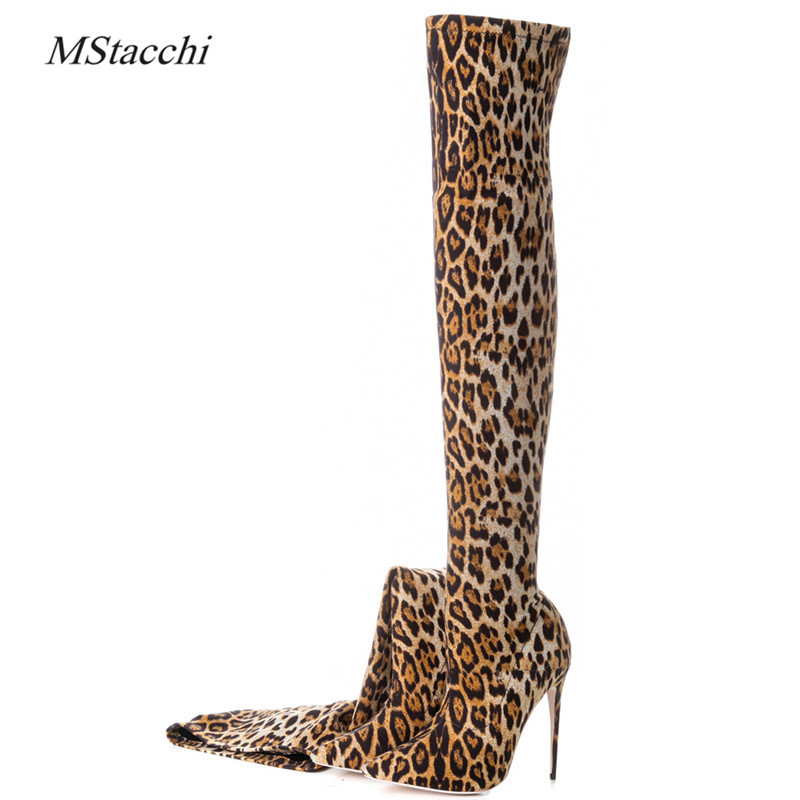Mstacchi New Spring Autumn Sexy High Heels Fashion Boots For Woman Over The Knee Stretch Boots Leopard Stilettos Big Size 33-43 morazora big size 34 42 high heels shoes woman over the knee boots ribbon spring autumn fashion boots stretch big size 34 42