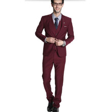 Red men suits tailor made groom suits tuxedos good qualit tuxedos slim fit formal suits(jacket+vest+pants)
