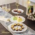 Тройная тарелка с золотыми инкрустационными костями  китайские фруктовые тарелки  тарелки для тортов  керамическая тарелка для конфет  фар...