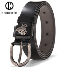 COOLERFIRE Womens Brand New Retro Casual Wild Msreal Leather Belt Buckle  Pure Women Jeans belts LB014