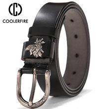 a8219488dcc COOLERFIRE Las Mujeres Nuevo casuales Retro salvaje Msreal hebilla de  cinturón de cuero puro cinturón Jeans cinturones LB014