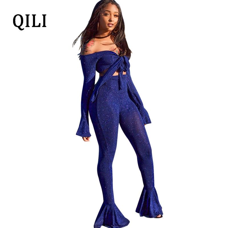 85938000330 QILI Autumn Women Boot Cut Jumpsuits Two Piece Set Bandage Bow Solid Casual Jumpsuit  Romper Long