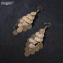 ФОТО elegance gold earrings women boho multilayer long earrings droplet and leaf styles unique new design of personality jewelry gift