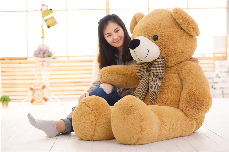 stuffed toy large 140cm light brown teddy bear plush toy bowtie bear doll soft hugging pillow,birthday gift b1400 retail 1 piece 9 23cm mr bean bear teddy doll animal stuffed plush toys brown figure kid christmas birthday gift