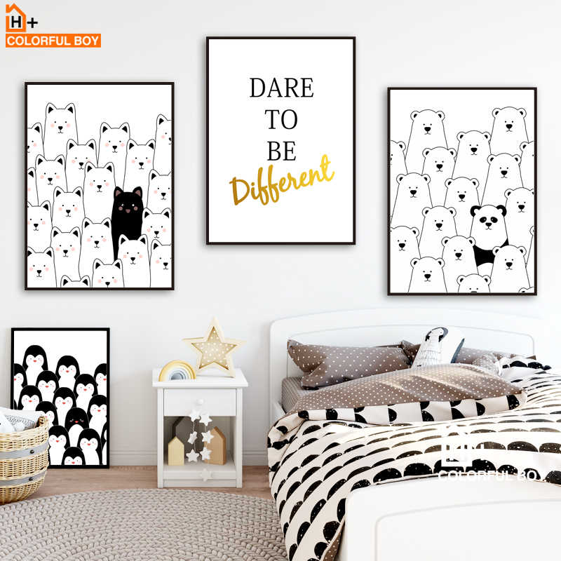 Bear Cat Gold letter Wall Art Canvas Painting Nordic Posters And Prints Black White Animals Wall Pictures Baby Kids Room Decor
