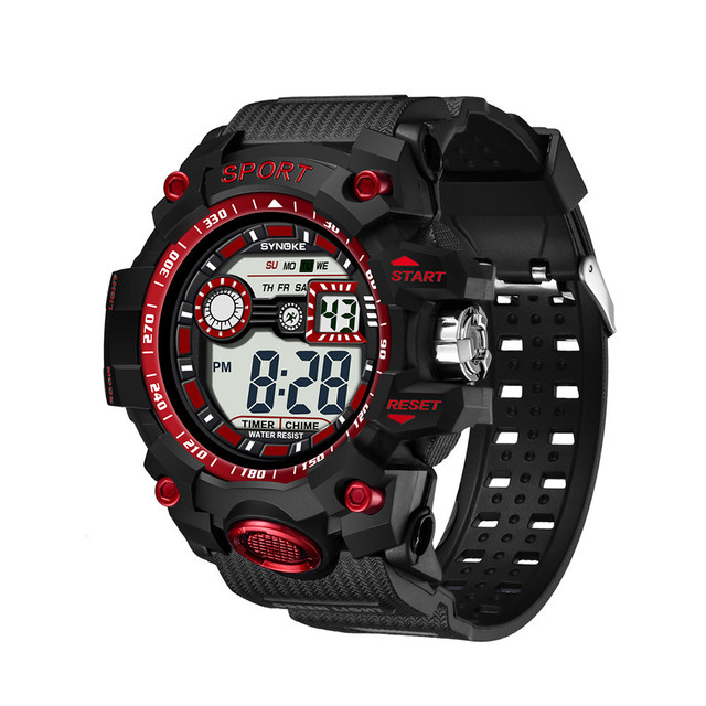 SYNOKE Men Watches 2018 Luxury Brand Multi-Function 50M Waterproof Sport Watch LED Digital Double Action Watches C8100