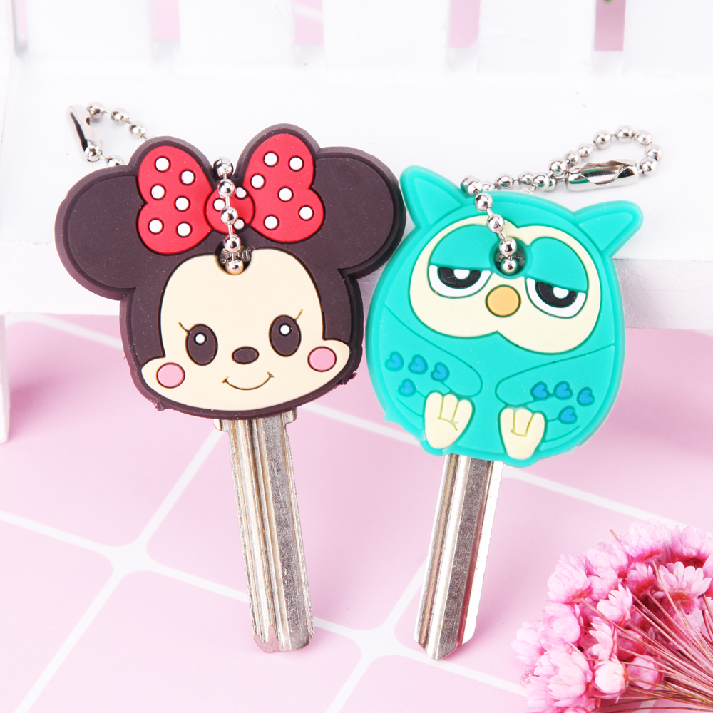 113764b6352899 Cartoon Anime Cute Key Cover Cap Silicone Mickey Stitch Bear Keychain Women  Gift Owl Porte Clef Hello Kitty Minne Key Chain