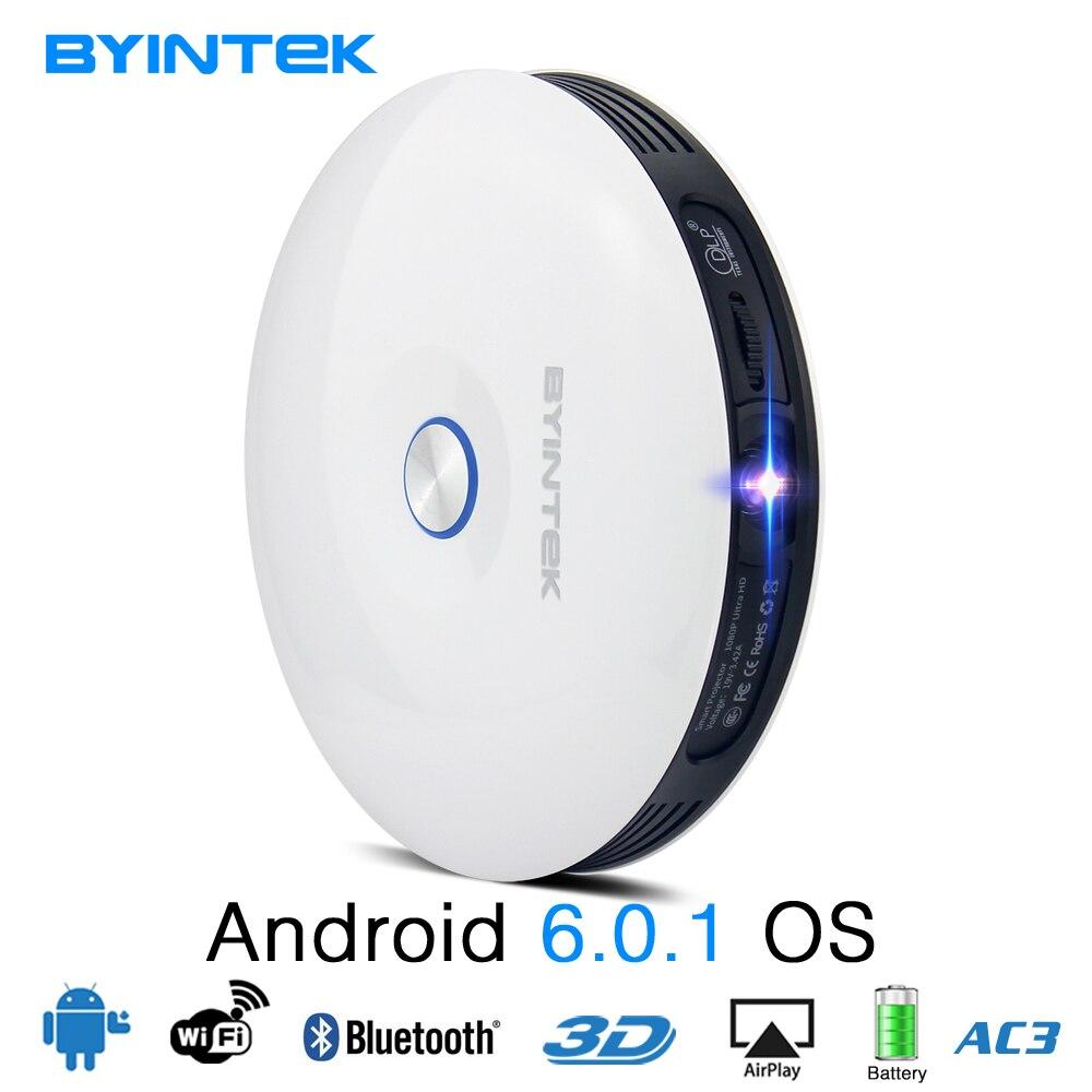 BYINTEK бренд НЛО R11 Smart 3D 200 дюймовый Android Wi-Fi Беспроводной DLP видео Портативный светодиодный мини-проектор Поддержка Full HD 1080 P 2 К 4 К