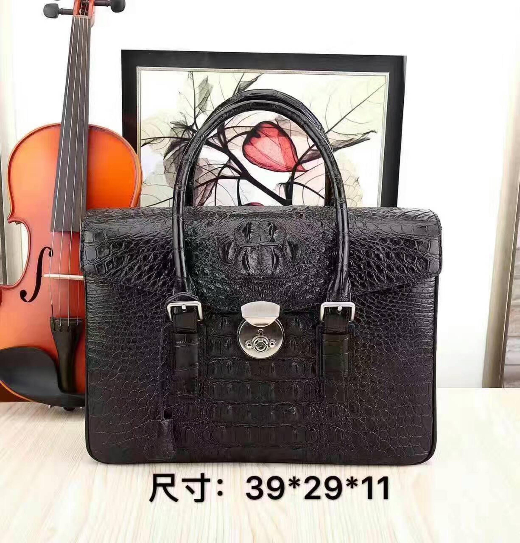 100% Genuine/Real Crocodile Head Back Skin Men Briefcase Laptop Bag, Top Luxury Men Business Bag Luxury Quality Black
