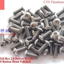 Титановый винт M3x7 M3x8 ISO 7380 с шестигранной головкой 2,0 Отвертка Ti GR2 полированная 25 шт