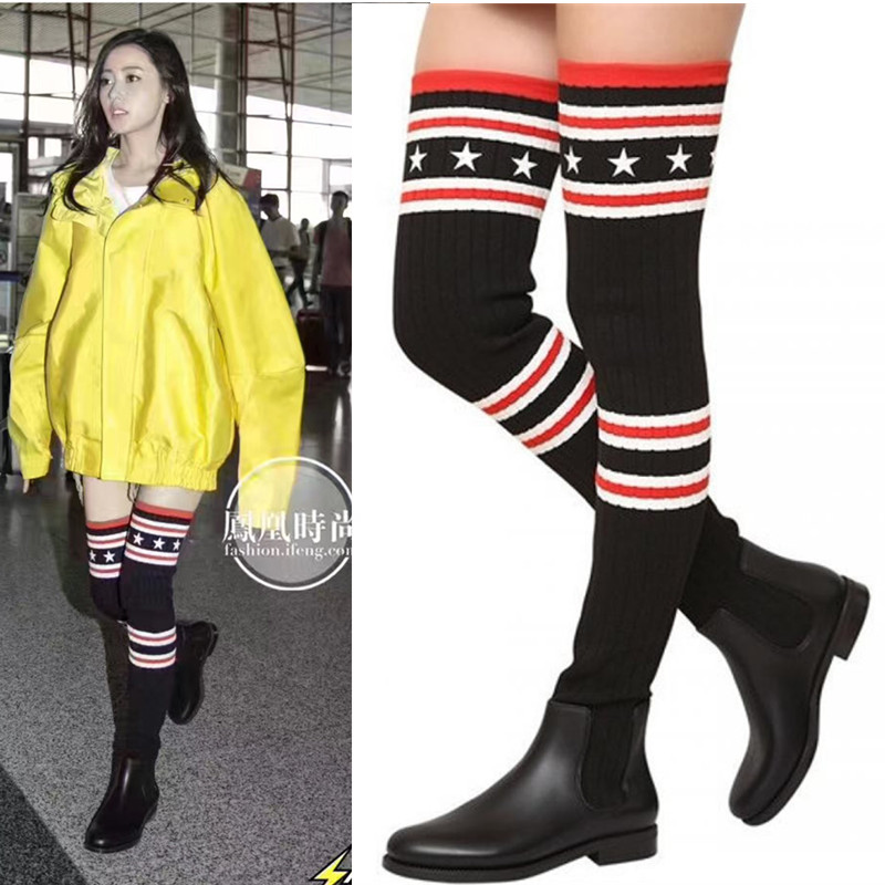 Women Over The Knee Boots Stovepipe Socks Boots Elastic Slim Leg Women Flat Casual 2017 Spring Autumn New Crochet Boots Wool