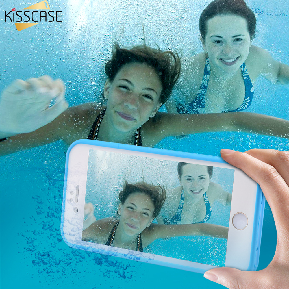 KISSCASE Waterproof Phone Case For iPhone 7 6 6s Plus Case TPU WaterProof Full Protective Cover For iPhone 5 5s SE 7 7 plus Case