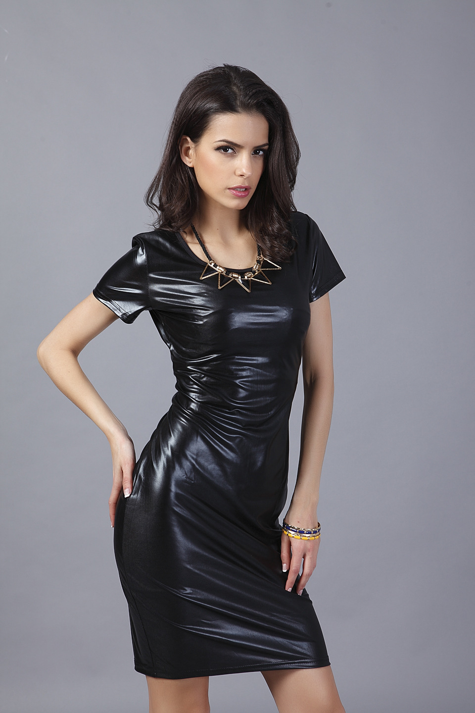 Girl In Leather Dress