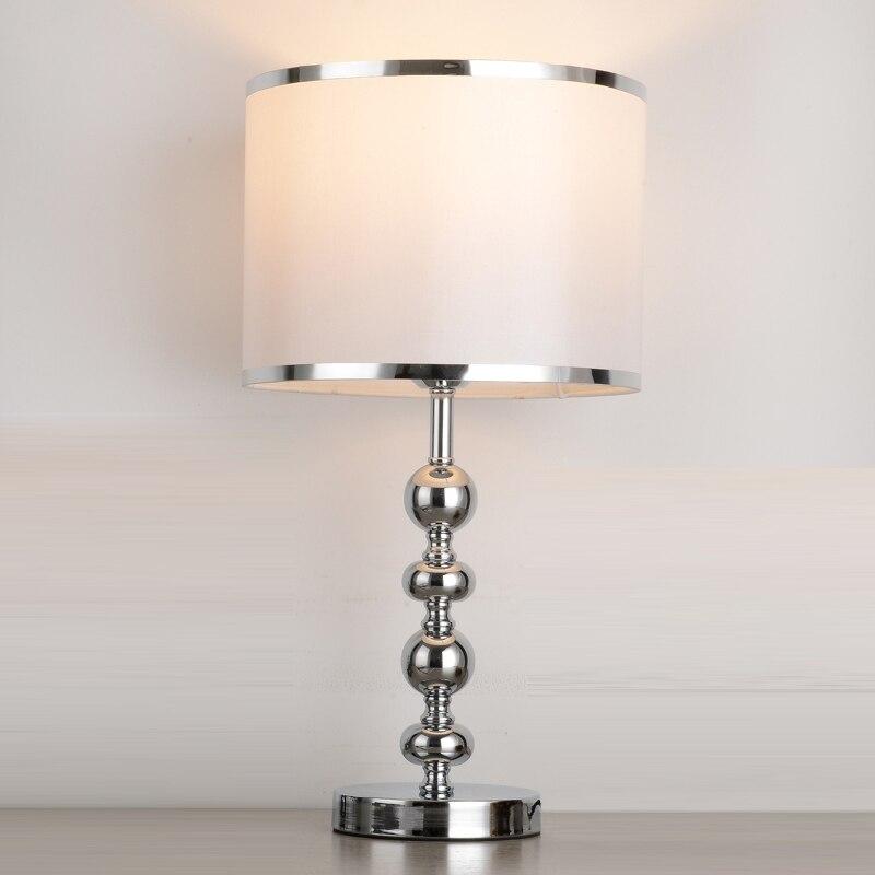11 Modern White Fabric Bedroom bedside Table light Study Room Desk Light Chrome Body Living Room Table Lights