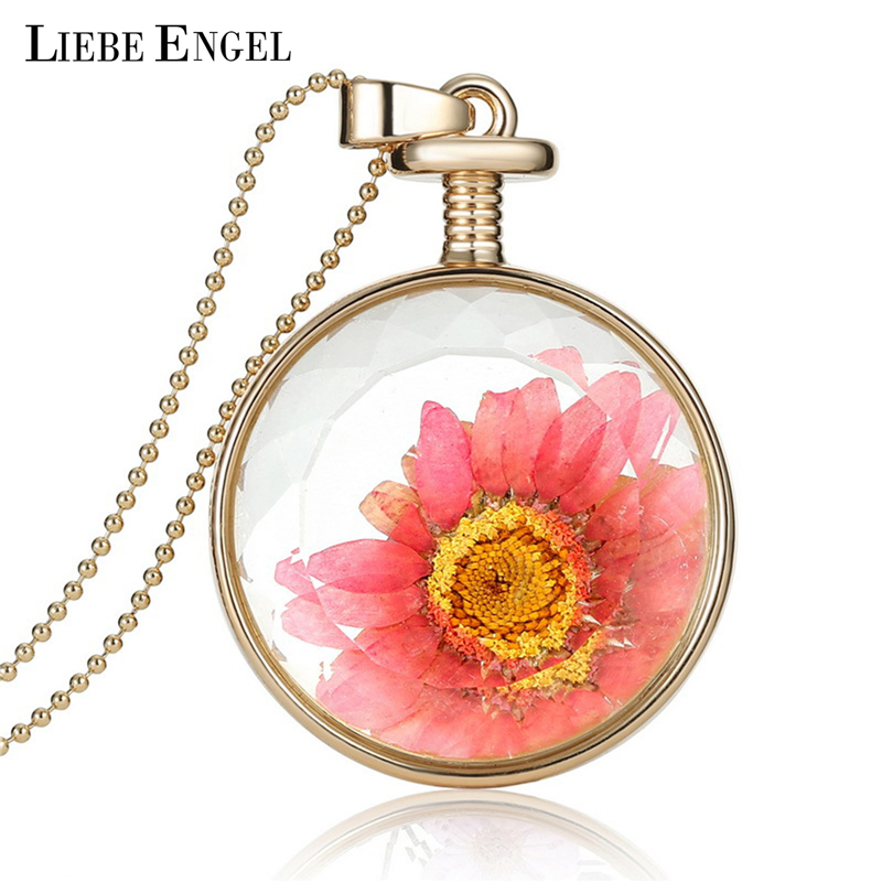 LIEBE ENGEL Fashion Necklace Collares Pink Dried Flower Crystal Glass Statement Necklace Vintage Long Necklace Jewerly fpr Women