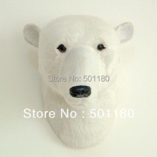 free shipping artificial polar bear head gift polar bear head wall decoration polar bear headmini polar bear head craft