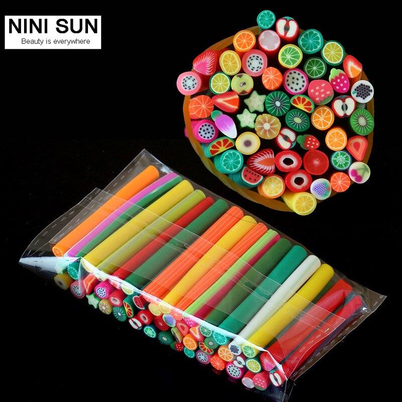 50 шт., акция, популярный дизайн ногтей, фруктовое украшение, ломтик, палочки, сделай сам, маникюрные ногти, палочка, 3D украшение, мягкая керами...