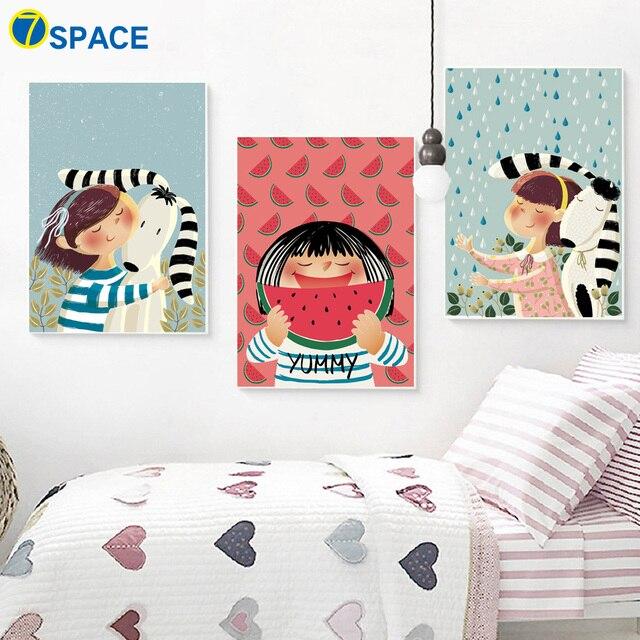 7 espacio perro chica sandía carteles e impresiones lienzo pintura ...