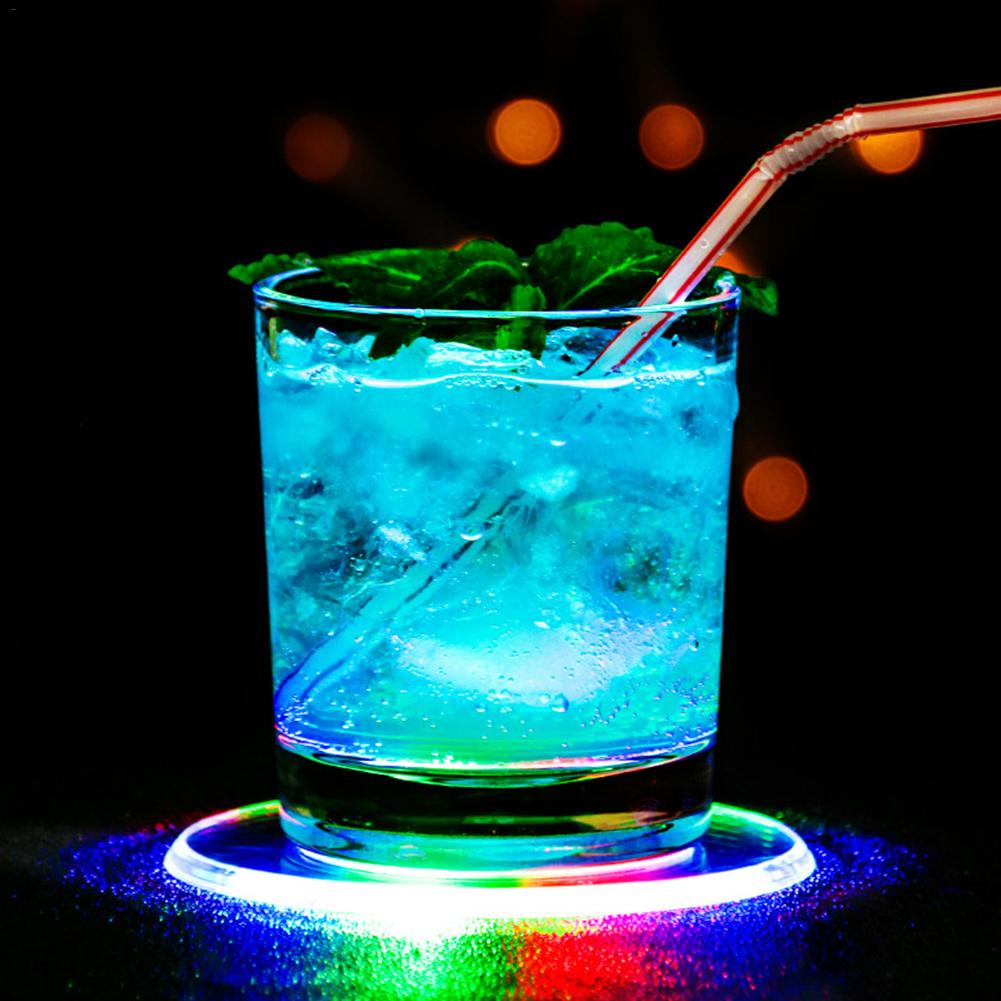 Acrylic LED Lighting Cup Mat Ultrathin Colorful Luminous Waterproof Flash Bottle Coaster Base Lamp Car Accessories