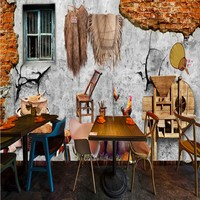 Free Shipping Retro Nostalgic Rural Objects Dining Background Wall Restaurant Custom High Quality Wallpaper Mural