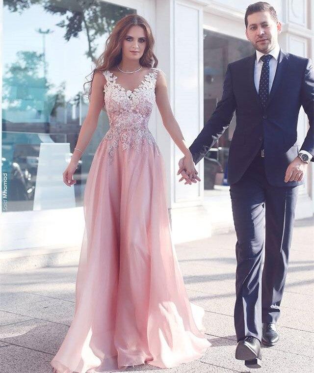 Beautiful Prom Dresses 2017 New Appliques Chiffon Cap Sleeve ...