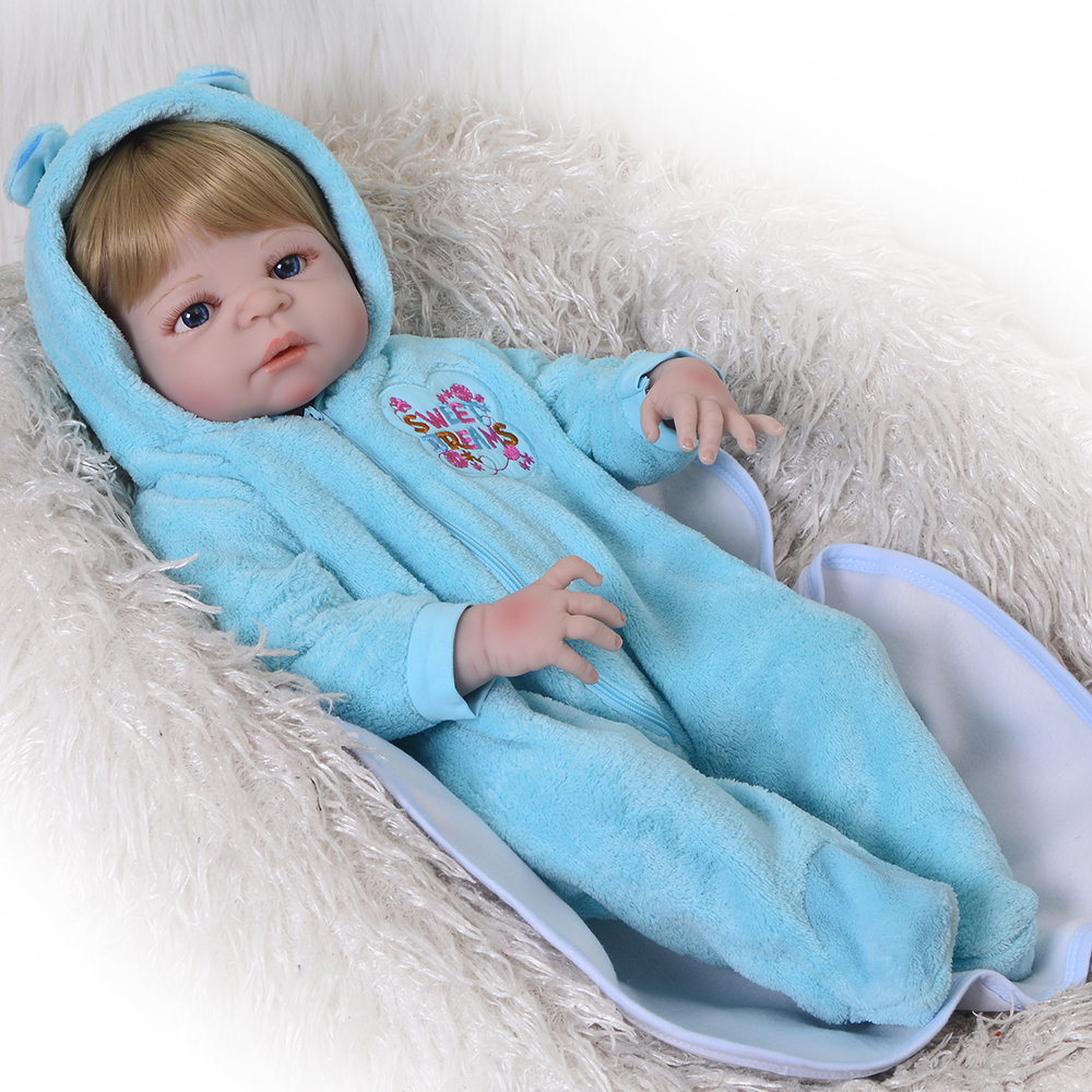 Куклы новорожденных 23 ''Реалистичного Reborn силиконовые куклы 57 см Полный винил Реалистичная Bebe Reborn Menino с золотыми волосами малыш играть в игр...