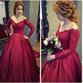 Burgundy Long Sleeve Lace Evening Dresses Vintage V Neck A Line Satin Floor Length Prom Woman Party Dress