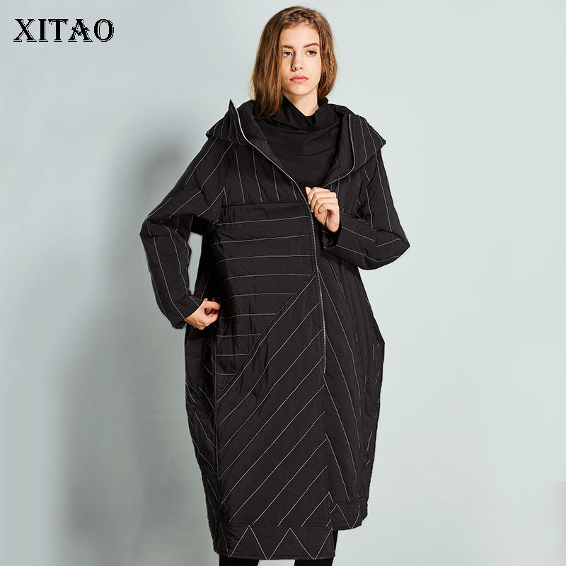 [XITAO] Women 2018 Winter Europe Fashion Asymmetrical Full Sleeve White Duck   Down   Striped Casual Thick Long   Down     Coat   LYH1009