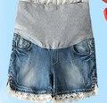 Оптовая продажа беременным шорты светло-голубой хлопок кружева бисероплетение большой беременность опоры живот шорты w268
