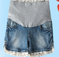 Venta al por mayor de maternidad cortos de luz azul de algodón del cordón que rebordea gran embarazo vientre Prop pantalones cortos w268